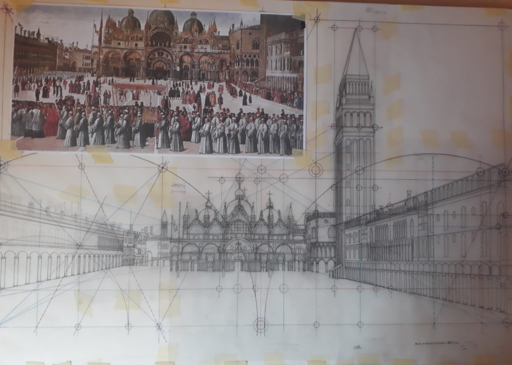 Technical draft trace of the Piazza