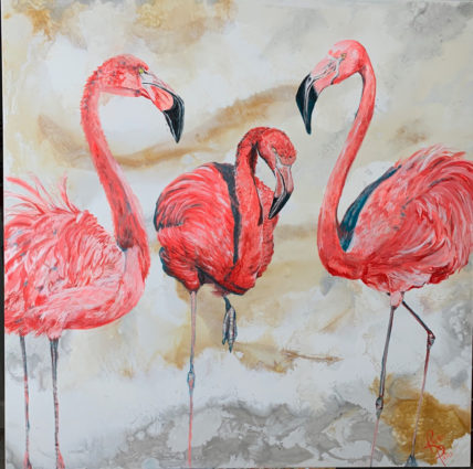 Three Flamingos by Rachel Pierce