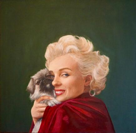 Marilyn Monroe with a Pekingese Dog by Mara Sfara